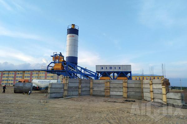 AJY35 Mobile Concrete Batching Plant in Uzbekistan