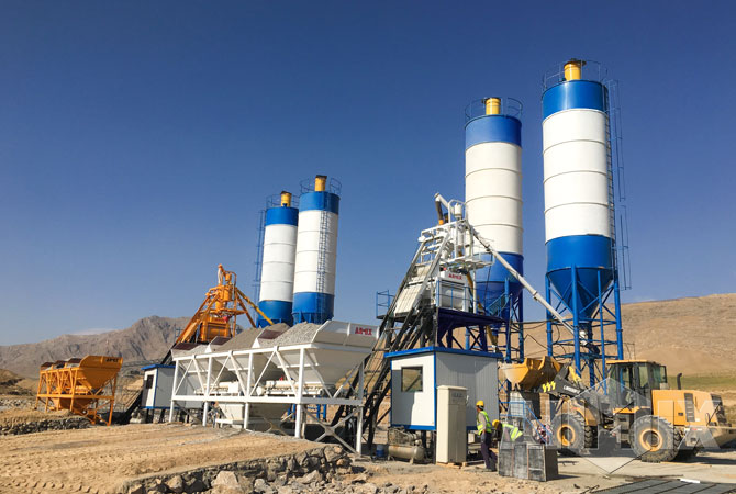 2 sets of Aimix concrete batching plants in Uzbekistan