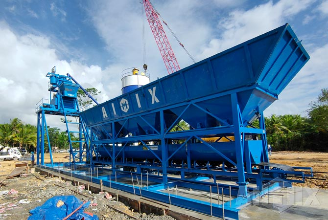 AJM50 Foundation-Free Concrete Batching Plant Installed In Philippines